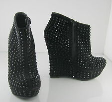 "Black Stars 5"" High Wedge 1.5"" Platform Sexy Ankle Boot -Us Womens Size 8"