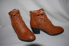 Womens BROWN ANKLE BOOTS Faux Leather BRAIDED High Heels S 6-7 M 7-8 L 8-9 XL 10