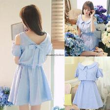 Summer Korean Women Cotton Linen A Line Slim Empire Waist Beach Mini Short Dress
