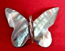 Abalone Butterfly Brooch Pin Vintage Mexican Jewelry Shimmery Colors Shell