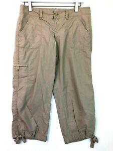 Loft light weight khaki cropped capris utility pants drawstring hem size 2