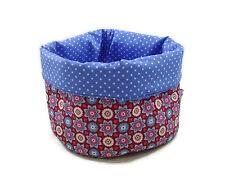 Stoffkörbchen Blumen rot-blau/ innen blau - Brotkorb Utensilo - bettina bruder®