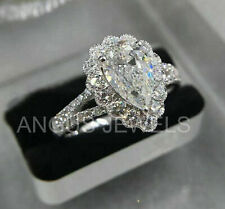 3.83ct Pear cut Solitaire Diamond Anniversary Engagement Ring 14k White Gold