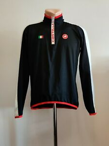 Castelli Cycling Race Jersey Mens Italy Black White Red Long Sleeve Full Zip 2XL