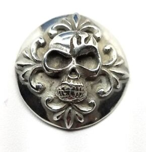 skull concho snap silver leather Gothic biker solid belt wallet screw