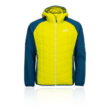 Jack Wolfskin Mens Grassland Hybrid Hooded Jacket Top Yellow Sports Outdoors