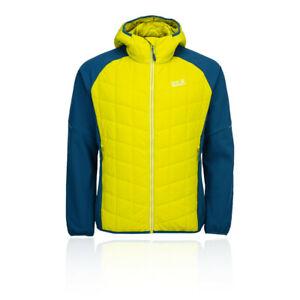 Jack Wolfskin Mens Grassland Hybrid Hooded Jacket Top Yellow Sports Outdoors