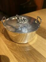 Antique Sterling Silver Butter Dish With Cow Handle