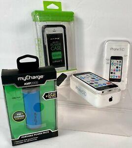 Apple iPhone 5c - 16GB - White (Sprint?) A1456 (CDMA + GSM) Case & Cords