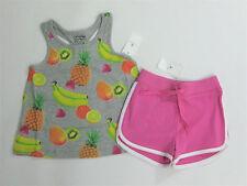 NWT Baby Gap Girls 12-18 Months Fruit Bananas Knot Tank Top Pink Knit Shorts