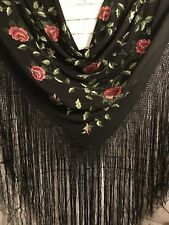 Fab! Antique Black Silk Fully Hand Embroidery Cabbage Roses Fringed Piano Shawl