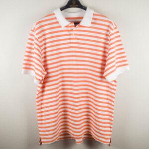 LL Bean Mens XXL / 2XL Orange White Striped Polo Shirt Collared Cotton Weave