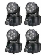 KIT 4 X PROIETTORE LED RGB TESTA MOBILE 7 LED ROTANTE EFFETTI DISCO WASH DMX