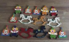 Vintage CLOWN / ROCKING HORSE Wooden DECORATIONS Christmas / Birthday Tree Party