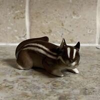 Lomonosov Chipmunk Figurine Porcelain Brown White Hand Painted USSR