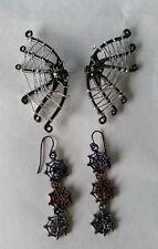 Claire's Halloween Earrings 2 pair set /Spider web & 3 web dangle earrings #8