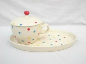 MIXED COLOUR POLKA DOT PATTERN SOUP BOWL AND SNACK PLATE SET
