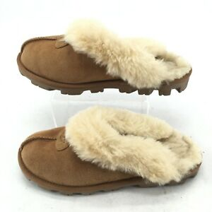 UGG Coquette Casual Slip On Clog Slippers Womens 7 Chestnut Suede Sheepskin