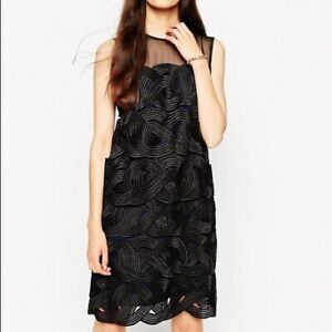 NWT REISS Black Pepper Double Layer Lace Dress
