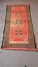1930s TIbetan tibet tribal handknotted wool rug pink red  tribal vintage #15