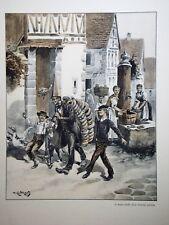 """c71-65 Gravure contes & récits d'Alsace - """"lmarchand de coussinets de Largitzen"""""""