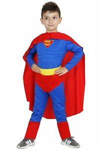 Costume di Carnevale Bambino SuperHero Colore Azzurro Rosso con Muscoli Mantello
