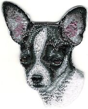 "1 7/8"" x 2 7/8"" Black White Chihuahua Dog Breed Portrait Embroidery Patch"
