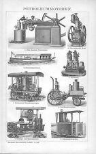 Petroleum Motoren Otto Motor Bootsmotor Petroleum Lokomotive Benzin Stich 1895