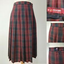 PITLOCHRY UK12 Plaid Red Green Pleat WOOL Midi Country Skirt