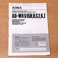 AIWA AD-WX515H cassette deck owner user manual