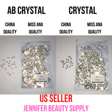 CRYSTAL AB RHINESTONES FLAT BACK CLEAR STRASS STONES FOR NAIL ART | US SELLER