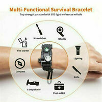 20 In 1 Survival Paracord Bracelet Gear Kit With SOS LED Light Whistle Compass