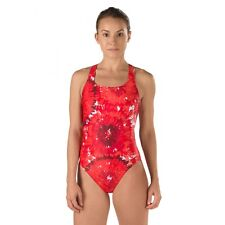 SPEEDO Red Burst Drop Back Endurance Lite One Piece Competition Swimsuit 28 NEW