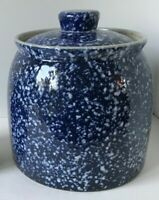Spatterware CeramicLarge Cookie Jar, Blue And White