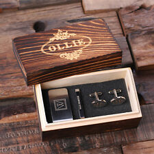 5 Personalized Men's Gift Set Oval Cuff Links, Money Clip, Tie Clip and Wood Box