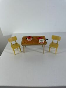 Lundby Dining Kitchen Table Chairs Vintage Dollhouse Furniture Accessories