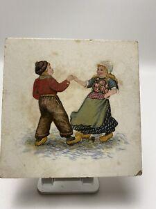 Antique Dutch Holland Ceramic Tile Trivet  #1398 Made Germany Boy & Girl Dancing