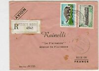 Rep Du Congo 1971 Regd Airmail P Noire Cancels Rhino+Train Stamps Cover Rf 30777