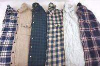 Mens Flannel Shirts Lot of 6 Random Plaid/Solid Button-Front S M L XL 2XL