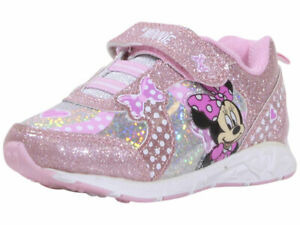 Disney Junior Toddler/Little Girl's Minnie Mouse Sneakers Light Up Pink/Silver