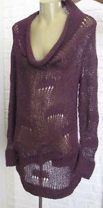 Eileen Fisher Open Knit Soft Mohair Blend Sweater Pullover Aubergine Sz S M