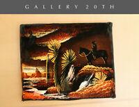 COOL! MID CENTURY MODERN AZ DESERT LANDSCAPE PAINTING! VTG 50S VELVET COWBOY ART