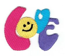 Iron On Embroidered Applique Patch - Smiley Face Emoji - Colorful LOVE