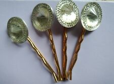 Clear Acrylic Gem Gold Plated Bobby Pins Set Of 4