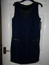 Women's Dress size M by ZARA basic Navy Shift Tunic Sleeveless V Neck 12 14