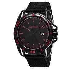 Calvin Klein Men's Earth Black Dial Fabric Strap Swiss Quartz Watch K5Y31ZB1