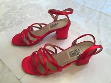 Special Occasions by Saugus Bridal Shoes, Red Satin, Size 8.5B, Leather Sole