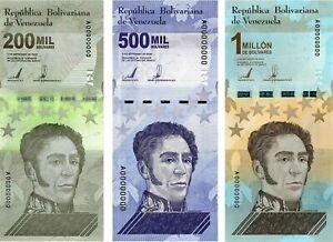 NEW Venezuelan set - 200 000, 500 000 and 1 000 000 million Bolivar 2020 UNC