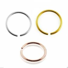 Nose Rings 9k Carat Genuine Gold Set of 3 Rose Yellow and White Gold 22g 8mm
