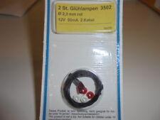 Viessmann 3502 Light Bulbs Lamps Red T3/4, Ø 2,3 mm, 12 V, 50 MA, 2 Cable #